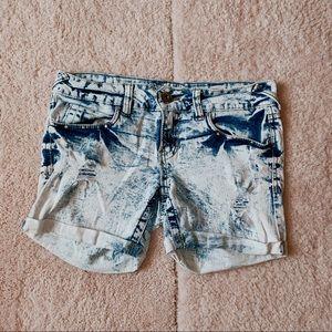 Amethyst Blue-White Jean Shorts